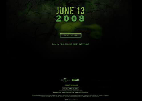 Aspecto de la web de The Incredible Hulk